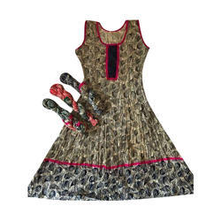 Womens Sleeveless Anarkali Cotton Kurti