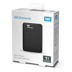 WD Elements 1TB Portable External Hard Drive (Black), Storage Capacity: 1 Tb