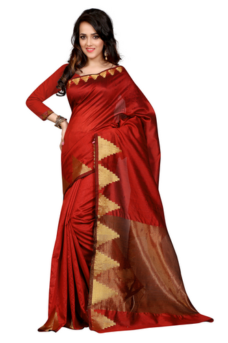 4294ad6a47a Red Printed Art Silk Saree With Blouse(GU-RAJCREKALRED-535)