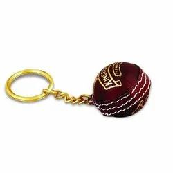 Red Metal Cricket Ball Keychain, Packaging Type: Packet