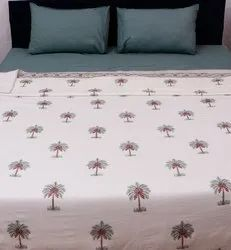 Hand Block Printed Green Palm Tree Floral Design Cotton Pure White Dohar 90x108