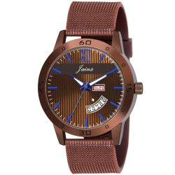 Jainx Brown Mesh Band Day and Date Function Analog Watch for Men's - JM376
