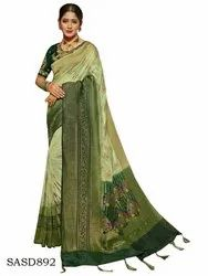 Printed Wedding Wear Light Olive Green Silk Saree with Blouse Piece