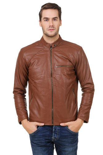 62c1eae69db Small Brown Gatasmay Pu Leather Solid Zipper Jacket For Men, Rs 1950 ...