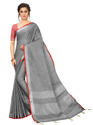 Sangini Dark Grey Pure Linen Cotton Saree