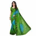 Ramapir Fashion Women's Wear Tryangal  Bandhani Saree