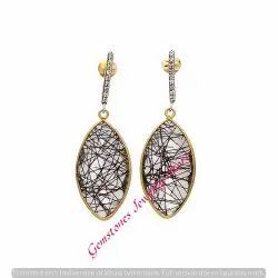Black Rutile & White CZ Gemstone Earring