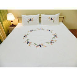 White Embroidered Double Bed Sheet