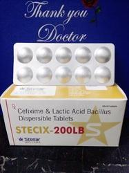 STECIX-200 LB Cefixime & Lactic Acid Bacillus Dispersible Tablets, 10*10, Packaging Type: Strip