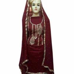 Unstitched 9000 Velvet Bridal Lahanga, Size: Free Size