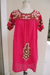 Mexican Embroidery Short Dress