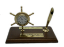 Brass Ship Wheel Desktop Pen Stand