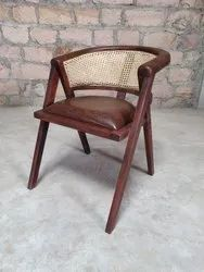 Wooden Round Canning Arm Chair