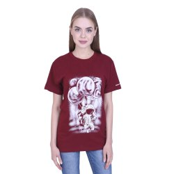 7c8dbe2e7 Ribbons and Mustache Women's Maroon Printed.. Ladies Round Neck T Shirt ...