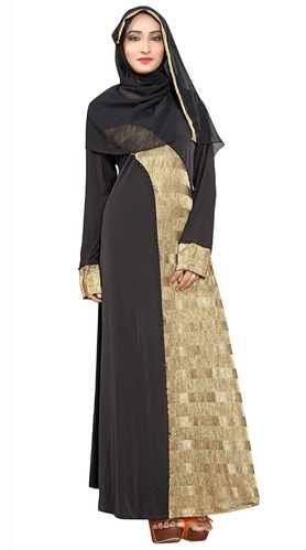 9f8fd47acb7f Black Lycra New 2018 Stylish Plain Embosed Printed Abaya Burkha Hijab