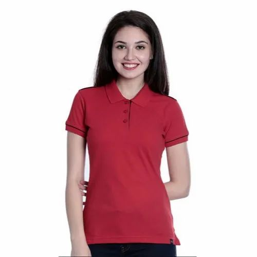 Red Ladies Polo Neck T Shirt