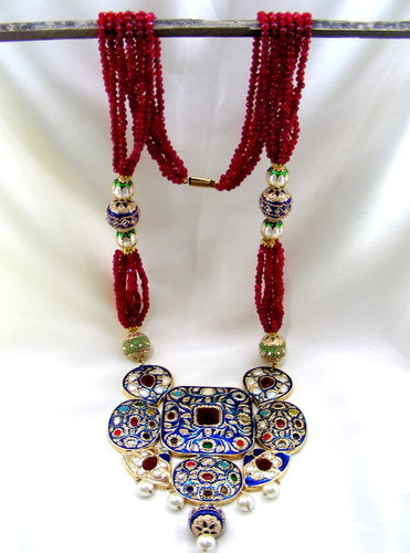 Fancy Long Ruby Chains Colored Enamel Stylish Ruby Necklace