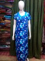 Ladies Blue Printed Cotton Nightgown