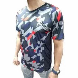 Polyester Round Neck Mens Printed T Shirt