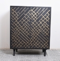 Black & Gold Natural Fibres Handmade Indian Mango Wood Side Cabinet In Black Finish