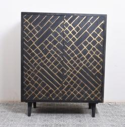 Handmade Indian Mango Wood Side Cabinet in Black Finish