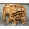 Wooden Undercut UP Trunk Elephant Statue