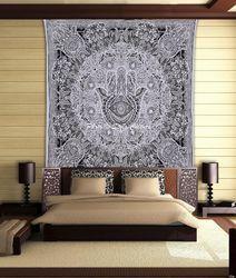 Buddha Hand Black White Bohemian Mandala Tapestry