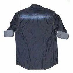 Collar Neck Mens Casual Denim Shirt