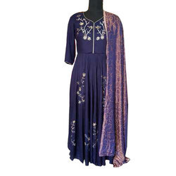 Full Sleeves Ladies Party Wear Embroidered Suit, Size: S To XXL