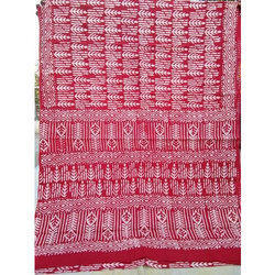 Chanderi Block Printed Sarees, Length: 6.3 m