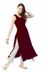 A-Line Casual Wear Rayon Ladies Kurta, Size: S-XXL