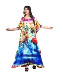 Daily Casual Wear Women''s Satin Silk Kurta Kaftan Designs