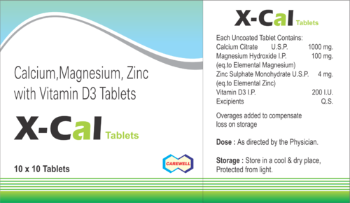 Carewell Calcium Magnesium Zinc Vitamin D3 Tablets Packaging Size