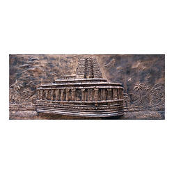 Ancient Fiber Crafted Badami Temple Wall Mural.