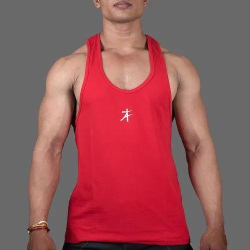 fd5b3fd359f42 Plain Men AthFlex Red Casual Stringer Vest