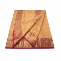 Party Wear Chanderi Tissue Silk Saree with Blouse Piece