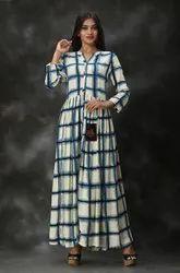 3/4th Sleeve Blue Rayon Printed Long Anarkali Suit, Machine Wash