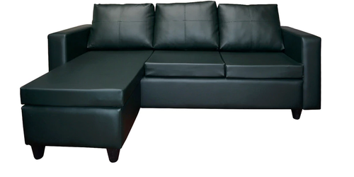 Reika Leatherette L Shape Sofa In Bottle Green Color