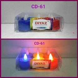 CD-61 LED Tea Light Tri Color Light 6 Pc