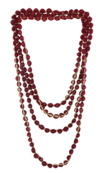 Wooden Beads With Golden Ribbon Two Shade Fabric Necklace