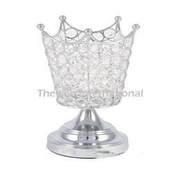 Silver Decorative Crystal Bead Crown Shape Hurricane Candle Holder