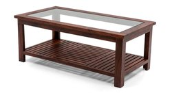 Brown Rectangle Wooden Center Table With Glass Fitting