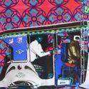Silver Auto Rickshaw Glaze Cotton Cushion Cover