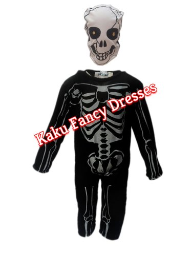 Halloween Skeleton Costume Kids.Black Hosiery Polyester Kids Skeleton Costume