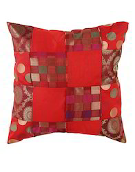 Red Polka Dot Patchwork Brocade Designer Cushion Cover 16X16