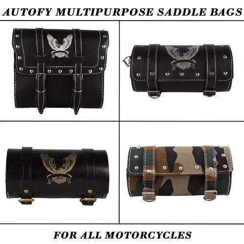 Black Plain Autofy Bike Riding Gear Accessories Pouch Bags