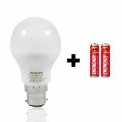 Philips Eye Pro B22 12W LED Bulb with 2 Free AA Batteries (Crystal White)
