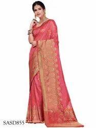 1f1ef713e1a TraditionalFashionDesigner Wedding Wear Peach Color Dola Silk Saree