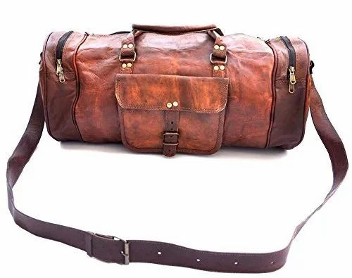 Brown Round Leather Duffel Bag 9f8c95d385c31