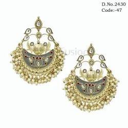 Antique Meenakari Chandbali Earrings